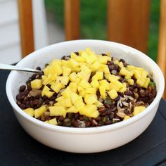 Black Beans & Coconut Lime Rice.. I serve it with homemade tortilla chips.  A wonderful meal for summer evenings!  We like it vegetarian, but you could add jerk chicken or pork, too!