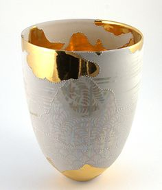 """Johanna DeMaine """"Landscape of the Mind,"""" 2006. Clear glaze, gas fired 2336°F (1280° C) in oxidation. Interior: gold luster, sandblasted, enamel. Exterior: mother-of-pearl, sandblasted, gilded, enamel, fired 1472°F (800° C). In the collection of the National Gallery of Australia."""