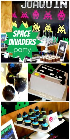 A fun Space Invader theme boy birthday party with old school arcade games and retro decorations!  See more party planning ideas at CatchMyParty.com!
