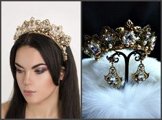 Queen Gold Crown Bridal Tiara Wedding Crown Gold hair accessory Crystal Rhinestones pageant Princess Earrings bride birthday headpiece raw by JewelryAjoureFlowers on Etsy https://www.etsy.com/listing/474068391/queen-gold-crown-bridal-tiara-wedding