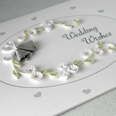 quilling wedding   Quilled wedding congratulations card - Folksy
