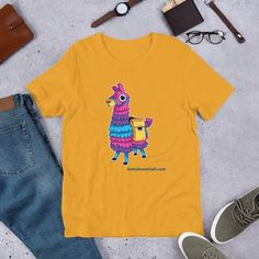 Llama Pinata Gaming Short Sleeve T-Shirt - Gotta Have it All! This Gotta Have It All llama pinata gaming short sleeve t-shirt is everything you've dreamed of and more. It feels soft and lightweight. Pinata Game, Funny Shirts, Tee Shirts, Yellow Shirts, Tees For Women, Online Shopping Clothes, Kids Outfits, Videogames, Sleeves