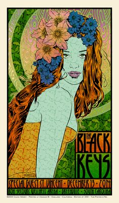 The Black Keys, Greenville, NC 20 x 34 Edition of 330 7 colors on cream paper Signed and Numbered by Chuck Sperry