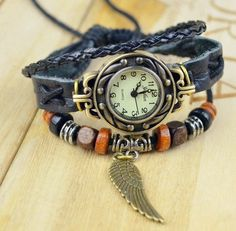 Black leather Watch partsVintage watchLady watchmen by huaxinwawa, $13.99