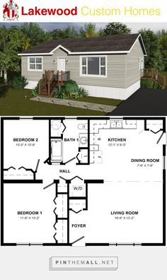 Cottage x 2 Bedrooms 1 Bathroom Small House Floor Plans, Cabin House Plans, Cottage Floor Plans, Cottage House Plans, Cottage Homes, Bedroom Floor Plans, Plan Chalet, Camping Desserts, Camping Meals