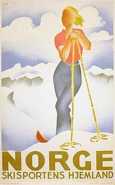 Norge/Norway vintage travel poster by Gert Jynge & Bjarne Engebret. Artist Canvas, Canvas Art, Vintage Ski Posters, Tourism Poster, Illustrations, Baby Shop, Baby Clothes Shops, Skiing, Prints