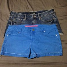 BUNDLE Two pairs of shorts Gently used. Both have a purposeful distressed look- especially around the hems. Both in very good condition, solid shorts. The blue pair are size 13 and the denim are an 11. Fit about the same in the waist. Blues are lower cut, denims sit higher on the waist. Hot Topic Shorts