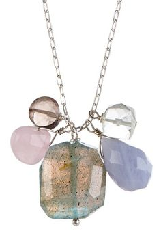 Silver Stone Cluster Necklace