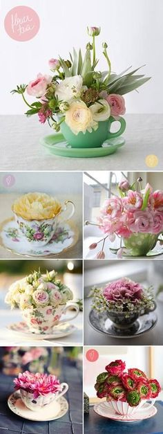 tea cup flower arrangements