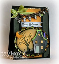 Haunted house Halloween card with house, moon, trees, banner and embellishments  Designed by Sankari Wegman