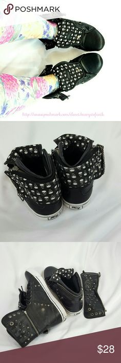 "Pastry ""Sugar Rush"" Skulls Black Sneakers size 8 Pastry ""Sugar Rush"" Skulls Black Sneakers size 8 in excellent used condition. These show some minor signs of use. Skulls and studs dance inspired shoes for everyday wear. Versatile styling. The zipper cuff can be removed or pulled up. Textile and leather.   Please let me know if you have questions! Happy Poshing! Pastry  Shoes Sneakers"
