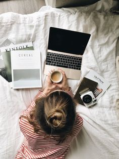 Magazines, Coffee, Laptop