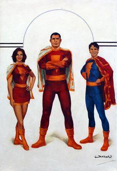 Captain Marvel, Mary Marvel and Captain Marvel Jnr by John Watson