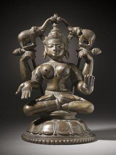 Shri Lakshmi lustrated by Elephants (Gaja-Lakshmi)India,Orissa,18thC,LA County Museum of Art