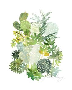 Cactus No. 5 Watercolor Art Print by YaoChengDesign Art And Illustration, Illustrations, Plant Drawing, Painting & Drawing, Watercolor Plants, Watercolor Paintings, Cactus Art, Green Cactus, Botanical Art