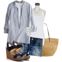 perfect beach look. all these polyvore outfits make me feel like a need to put on a watch before leaving the house.