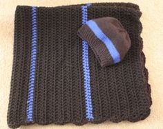 Thin blue line baby blanket and hat