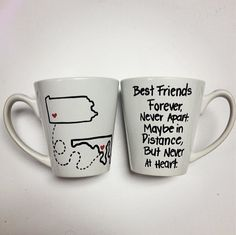 Never Apart  Set of 2 Mugs by KitchenPaintedPretty on Etsy, $28.25. Need to get this for my BFF in Minnesota