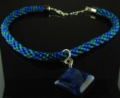 Kumihimo Blue and Green Necklace with Dichroic Glass by Luckysammy, $45.00