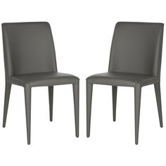 Modern elegance defines the clean-cut lines of this set of two grey side chairs combining the tactile quality of leather with a high tech sculpted silhouette.