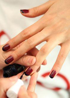 black tipped burgundy mani at rebecca minkoff fall 2014 Tyga 4af6e4391