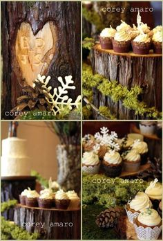 Pine (or cedar) dessert platters, different heights; table covered in moss (some flowers?). Lemon cake on highest, 2 vanilla cupcakes with whipped cream icing, gluten free brownies, 2 fruit cup in champagne flute (1 whipped cream, 1 whipped coconut), 1 spring cake.