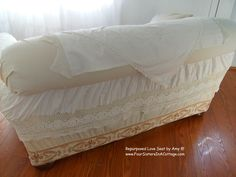 Sofa I made with vintage lace, linens, tablecloths and bedskirts all with HOT GLUE!!!!
