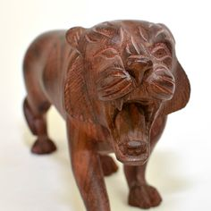 #Vintage #Carved #Wooden #Tiger Statue Figurine - Large Home #Decor #Handmade #Art by OneRustyNail on #Etsy