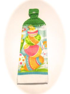 Easter Hand Towel With Spring Green Crocheted Top- Hiding Bunny And Easter Eggs by MeAndMomsCrafts on Etsy