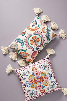 Embroidered Valeria Pillow | Anthropologie