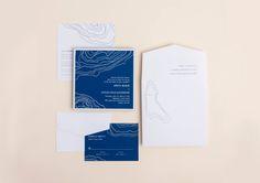 Wedding Invitation / Navy / Blue / Geode / Modern