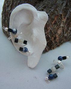 Onyx, Sodalite & Moonstone Ear Cuffs. $20.00, via Etsy.