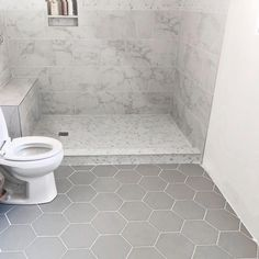 Shop for SomerTile Textilis Silver Hex Porcelain Floor and Wall Tile sqft. Get free delivery On EVERYTHING* Overstock - Your Online Home Improvement Shop! Grey Bathroom Floor, Shower Floor Tile, Hexagon Tile Bathroom Floor, Bathroom Tile Walls, Tile For Small Bathroom, Bathroom Tile Showers, Home Depot Bathroom Tile, White Tile Shower, Tiled Showers