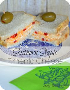 A Masters Golf Tournament Tradition - Southern Pimento Cheese - this recipe is NOT slimy like store-bought spreads and makes a delish sandwich or a dip served with celery and crackers! Easy to make recipe!