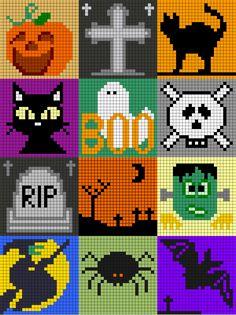 halloween pixel art © isabelle andreo c2c crochet graph graphgan pattern