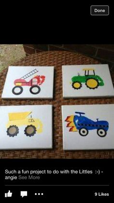 Kid craft tractor truck paint canvas