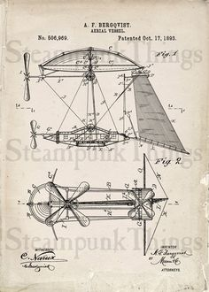 Steampunk Art Aerial Vessel Patent Drawing by Steampunkthings, $10.00