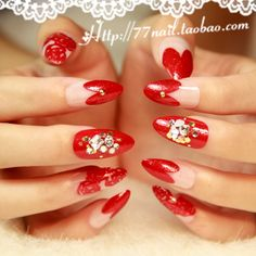 Aliexpress.com : Buy Strongly Recommending Sweet rose red love stiletto Nails/False Nails/Fake Nail/Nail Tips,24 pcs with glue,Free Shipping from Reliable stiletto nails design suppliers on Jessie's shop. $14.90