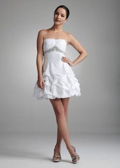 Taffeta Beaded Empire with Short Pickup Skirt - David's Bridal