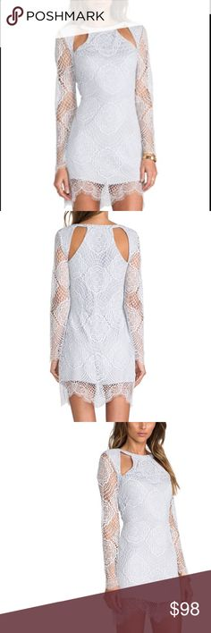 Eternal Love Dress, Lilac, size Medium For love and lemons eternal love lace dress in lilac. I only wore this 1 time but my necklace happen to tear at the top of the lace, not very noticeable and there is a small spot near the bottom of the dress... looks like coffee ugh, I can try and remove before purchasing, I don't think it's stained. See additional details in description photo. For Love And Lemons Dresses Mini