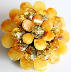 Baltic Amber Ring Sunny Blossom