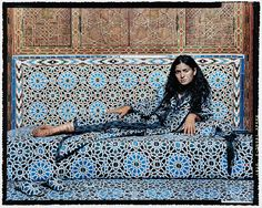 "lalla essaydi took the series of photos in a former harem in morocco. she swathed the women she photographed in robes that echo the patterns in the harem's traditional decorative tile. ""in my art,"". Vivre A New York, Modern Art, Contemporary Art, Traditional Henna, Dubai, Kunsthistorisches Museum, Middle Eastern Art, Art Beat, Space Photography"
