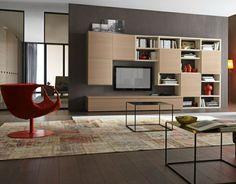 meubles de salon moderne fauteuil rouge et tables cubes - Model Dedecoration Desalon Moderne