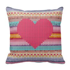 Woollen rainbow heart valentine faux embroidery throw pillow