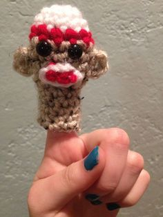 Sock Monkey Finger Puppet #crochet #yarn #pattern