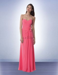Chiffon strapless gown with a sweetheart neckline. Criss cross dropped waist pleated bodice. Off-center self flowers accented with beads and rhinestones adorn the high hip. Back sunburst pleats with attached long train. Please also visit www.BillLevkoff.com to see all available colors.