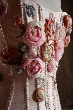 RESERVED Hand embroidered corset di IrenaGasha su Etsy
