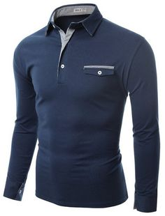 Doublju Mens Denim Collar Pocket Point Longsleeve Polo Shirts #doublju