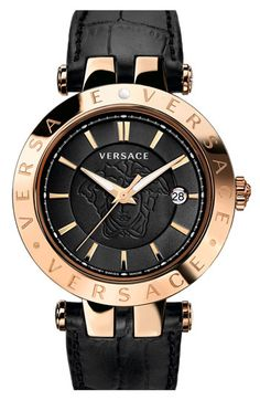 #BlackandGold Versace 'V-Race' Leather Strap Watch, 42mm available at #Nordstrom
