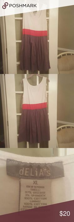 Delia's Comfy, cute summer dress. White,  pink, gray.  White section feels like a comfy t-shirt.  Gray section is a little flowy. EXCELLENT condition. Worn twice. Delia's  Dresses Mini